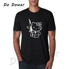 e637d03e7 do dower Summer T-Shirt Cute Catwoman rifle Print Men Cotton T Shirt Short  Sleeve