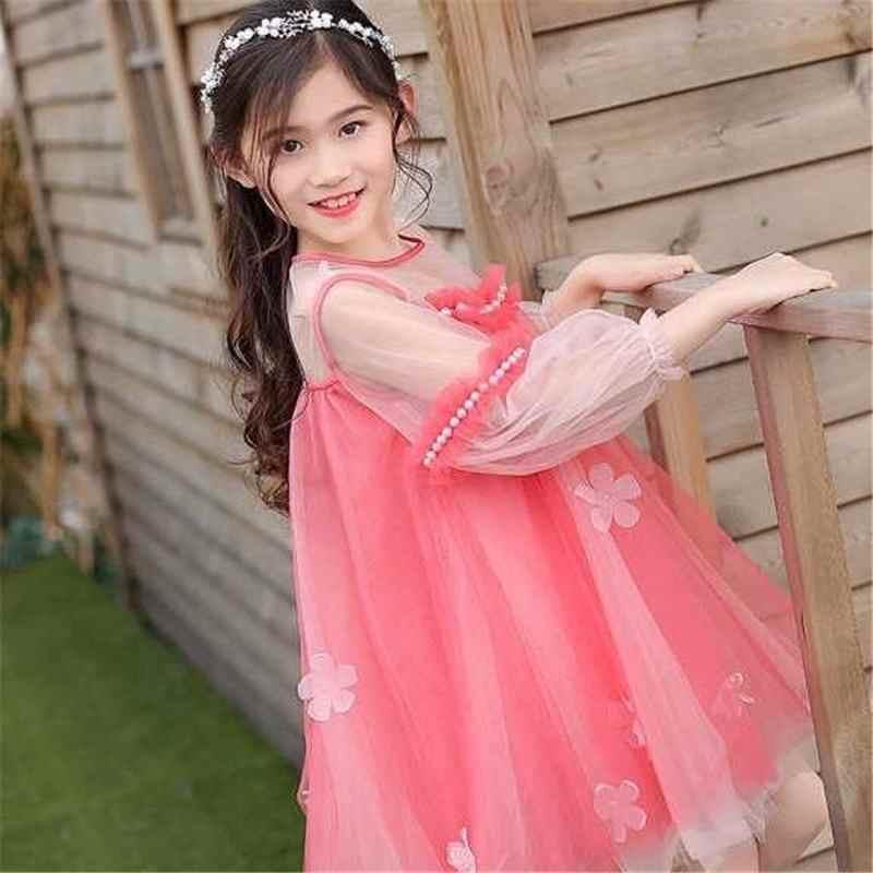 Новинка 2019 года; сезон весна-лето; модное Сетчатое платье принцессы с жемчужинами для девочек-подростков; Детские платья для девочек; детская одежда для девочек; Vestido L282