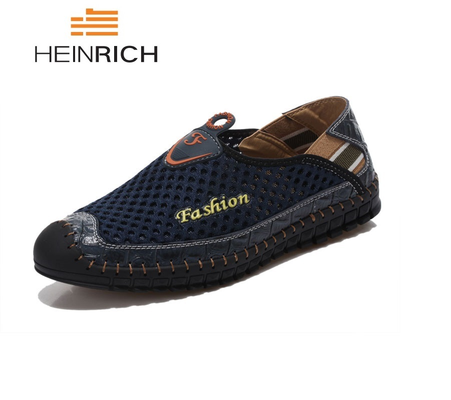 HEINRICH Summer Shoes Breathable Casual Shoes Men Fashion Sneakers Handmade Slip On Men Shoes Comfortable Men Loafers Sapatos