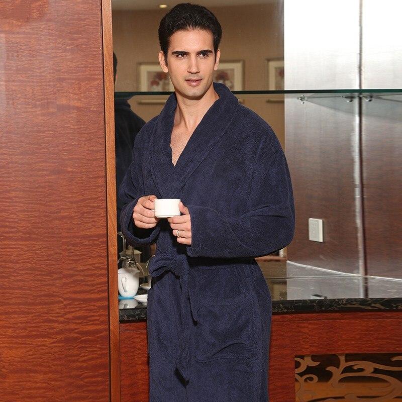 Hiver hommes peignoir coton épaissir grande taille XL jolie chaude longue douce hommes robe chemise de nuit couverture serviette polaire maison hôtel robe - 2