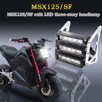 Motorcycle Retro Three tier LED Headlights Fairing Headlamp Head Light Lamp For Honda Kawasaki Grom MSX125SF MSX125 Z125