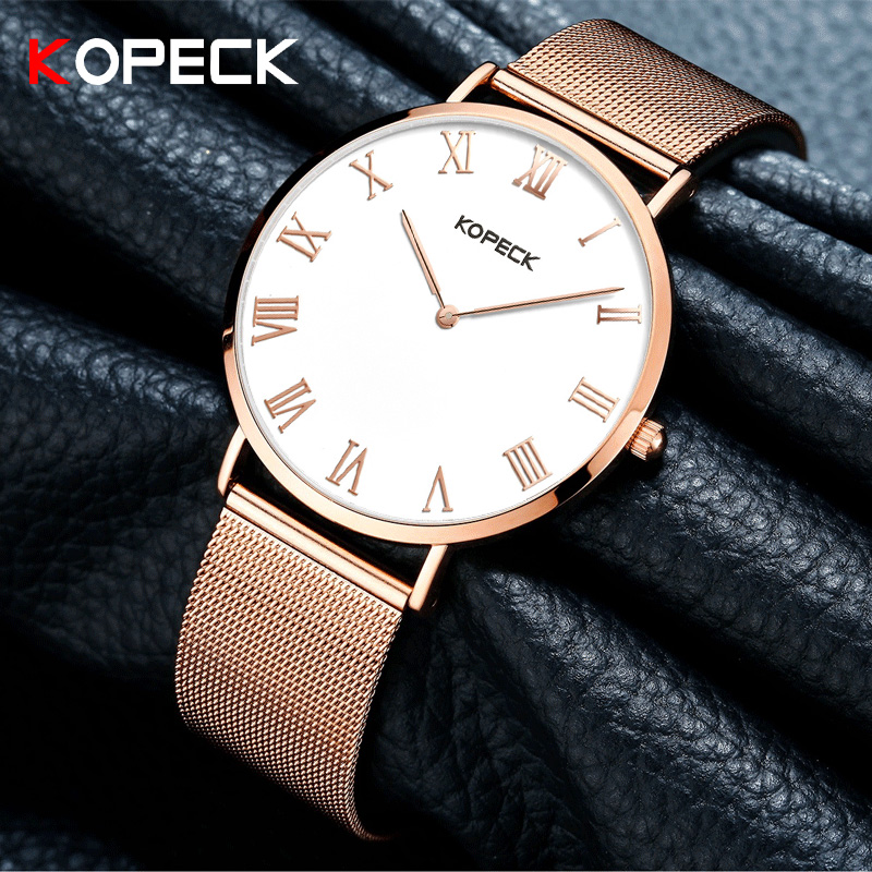 Kopeck Brand Luxury Simple Ladies Watch 6mm Ultra Thin Dial Women Analog Clock Milan Stainless Steel