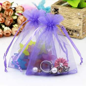 Cheap Sale 1000pcs/lot 7x9cm Purple Color Organza Gift Packaging Bags Wedding Promotion Gift Wrapping