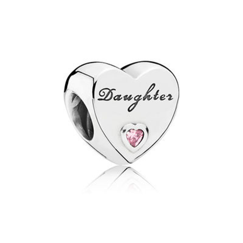 DINGLLY 2Pcs/Lot Daughter Pink Crystal Heart Beaded Fit European Brands Bracelet For Women High Quality Jewelry Making(China)