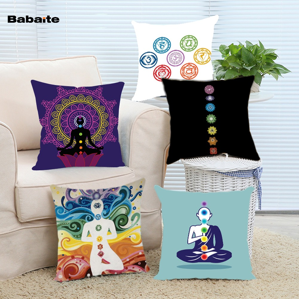 online buy wholesale cool throw pillows from china cool throw  - cool yoga seven chakras more energy nice design throw pillow casealmofadasho invisible zipper two sides