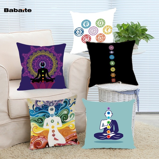 Cool Yoga Seven Chakras More Energy Nice Design Throw Pillow Case almofadasho Invisible Zipper Two Sides Printing