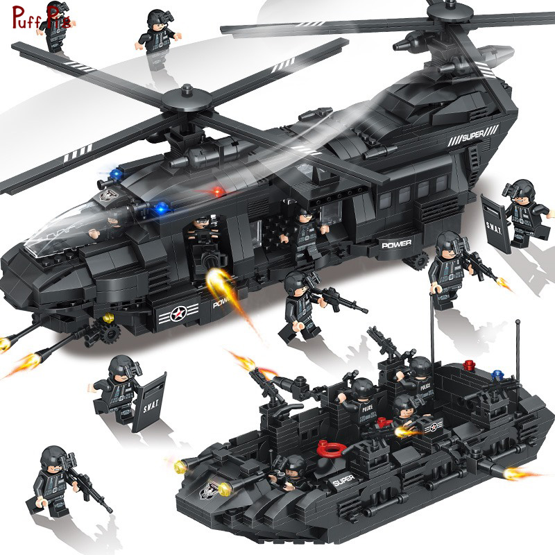 1351 Police SWAT Team Transport Helicopter Building Blocks Military Figures Compatible Legoed Army City Bricks Toys For Children цена