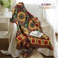 Hand woven Pure cotton Retro nostalgia carpet thin blanket Ethnic Art sofa towel blanket bed cover Felts tapestry 130X170 CM