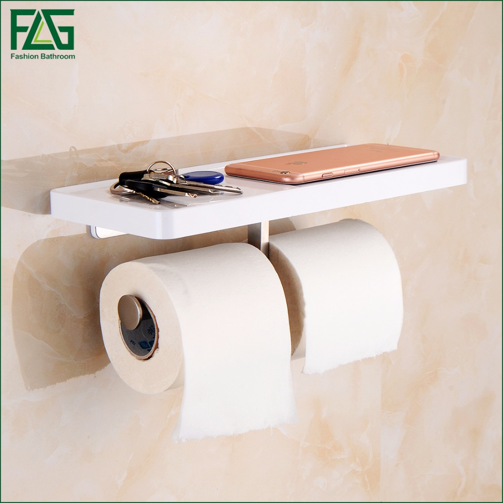 FLG Wall Mounted Toilet Paper Holder with White ABS Shelf & Stainless Steel Double Rolls Paper Holder Bathroom Accessories 1101 the ivory white european super suction wall mounted gate unique smoke door