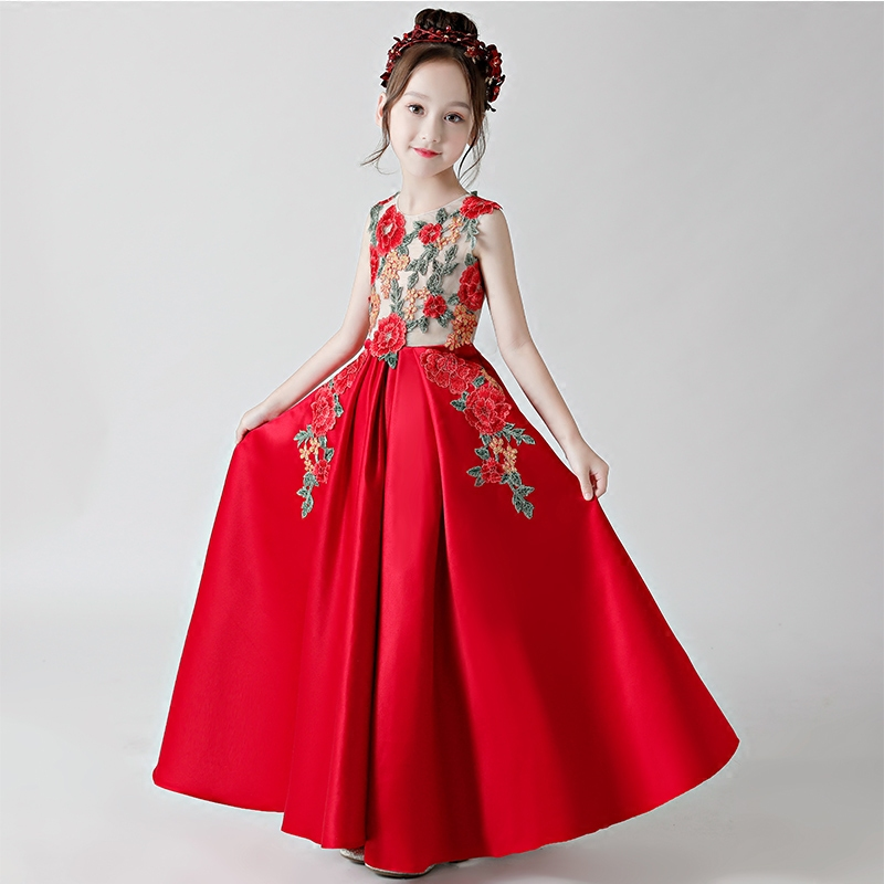 Summer New Children Girls Chinese National Wind Red Color Embroidery Flower Birthday Wedding Long Dress Kids Teens Costume dress цена 2017