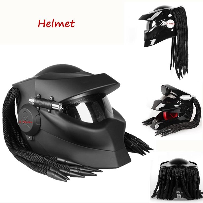 Alien prédateur casque Airsoft casque moto solitaire loup masque avec lampe extérieur Harley pleine tête CS paintball Halloween
