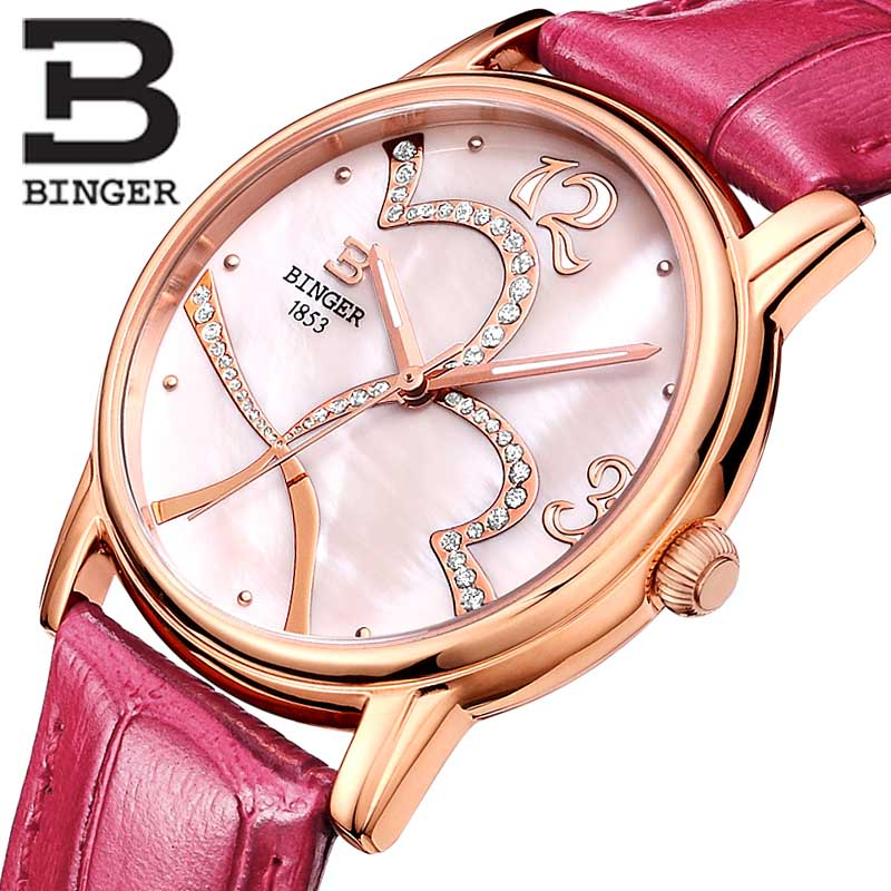 ФОТО BINGER Ladies Fashion Bright Color Round Dial Luxury Brand Women's Watches Leather Female Clock Wristwatches for Women B553L-2