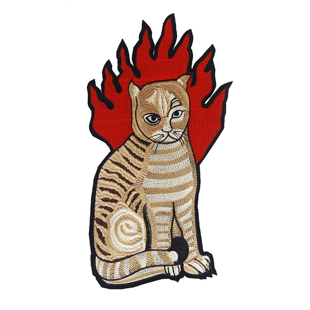 ᗑ1 piezas CAT fuego tela patrón Parches bordado coser en Parches ...