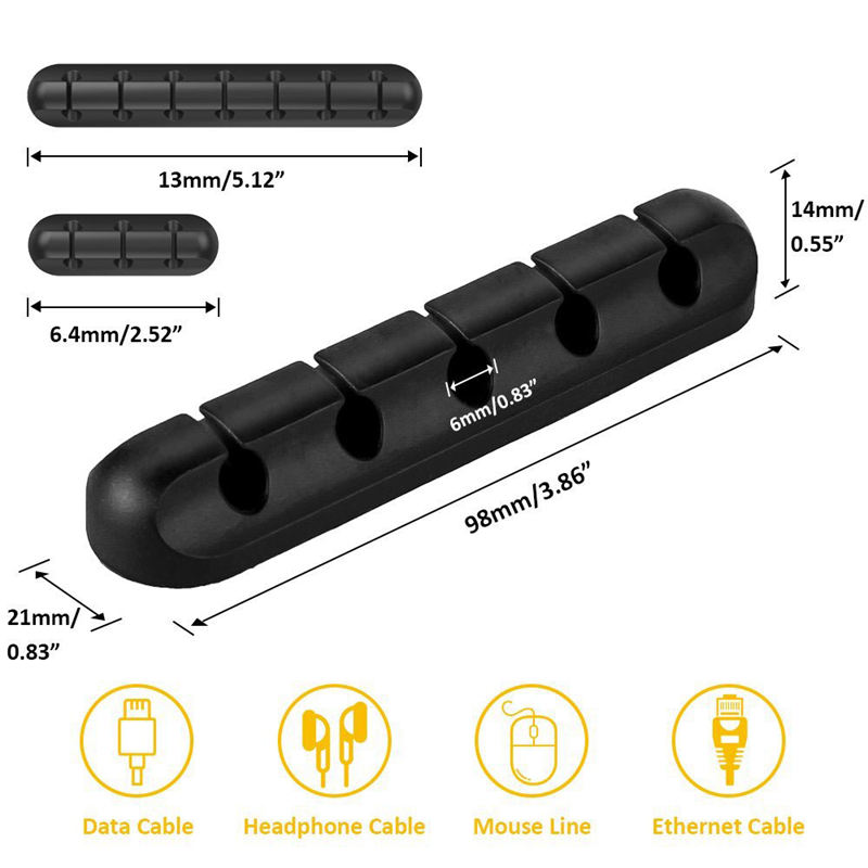 Кабельный зажим, органайзер для управления шнуром, 3 упаковки клеевых крючков, держатель провода для шнуров питания и зарядное устройство кабелей