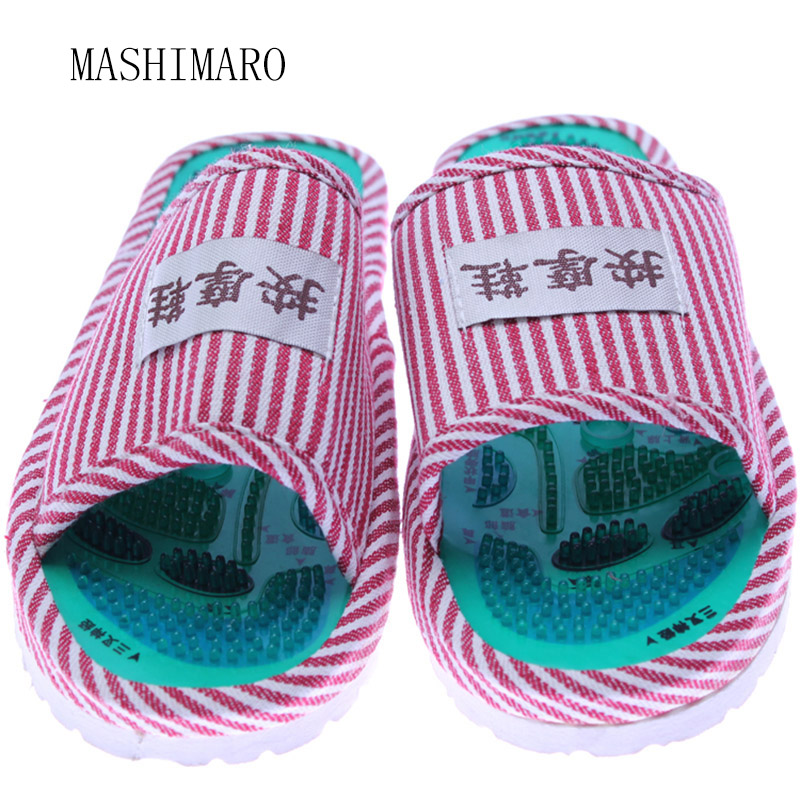 Women Summer Foot Acupoint Massage Cotton Shoes Lady Foot Health Care Magnet Slippers Striped Pattern Indoor Shoes For Women Hot 1 pair health care foot acupoint massager flat slippers for male female