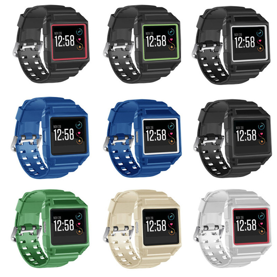 Replacement watchband Protective Case Holder Strap with stainless buckle Wristband Fit for Fitbit Ionic Smart Watch wear