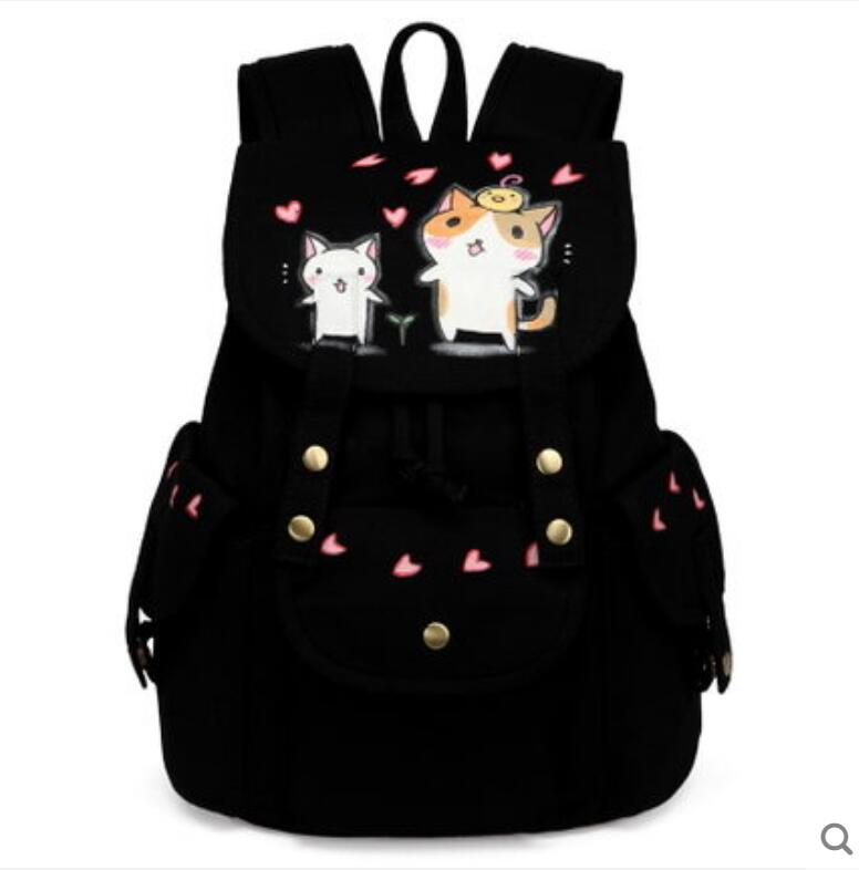 Personality Backpack Female Canvas Backpack Korean High School Student Bag Large Capacity 2018 New new korean female bag canvas backpack personality badge backpack leisure student schoolbag