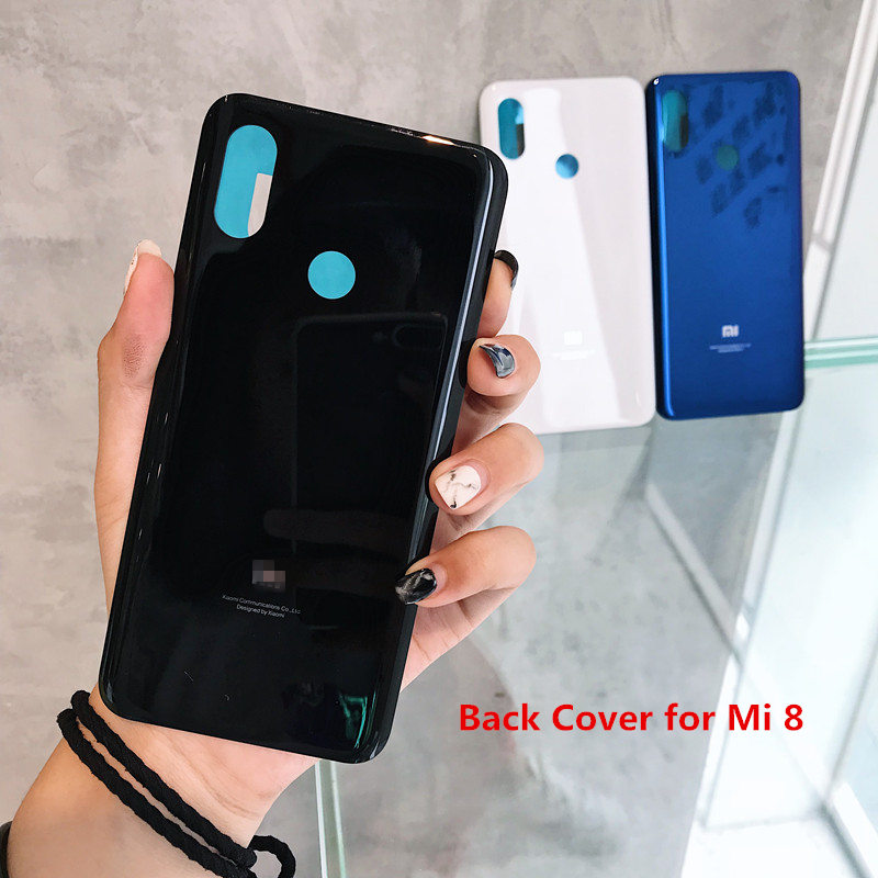 Back <font><b>cover</b></font> For <font><b>Xiaomi</b></font> <font><b>8</b></font> Rear Back Housing Door <font><b>Mi</b></font> <font><b>8</b></font> Mi8 3D Glass <font><b>Battery</b></font> <font><b>Cover</b></font> Replacement Parts with sticker image