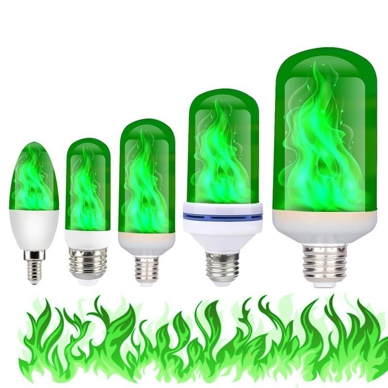 E27 E26 E14 Led Flame Lamp 85-265V Luces Led Decoracion Fire Effect Light Bulb Flickering Lampara Emulation Light Lampada Green
