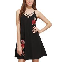 2019 New Yfashion Women Embroidered Rose Fashion Cross Rope Design Backless Sling Dress