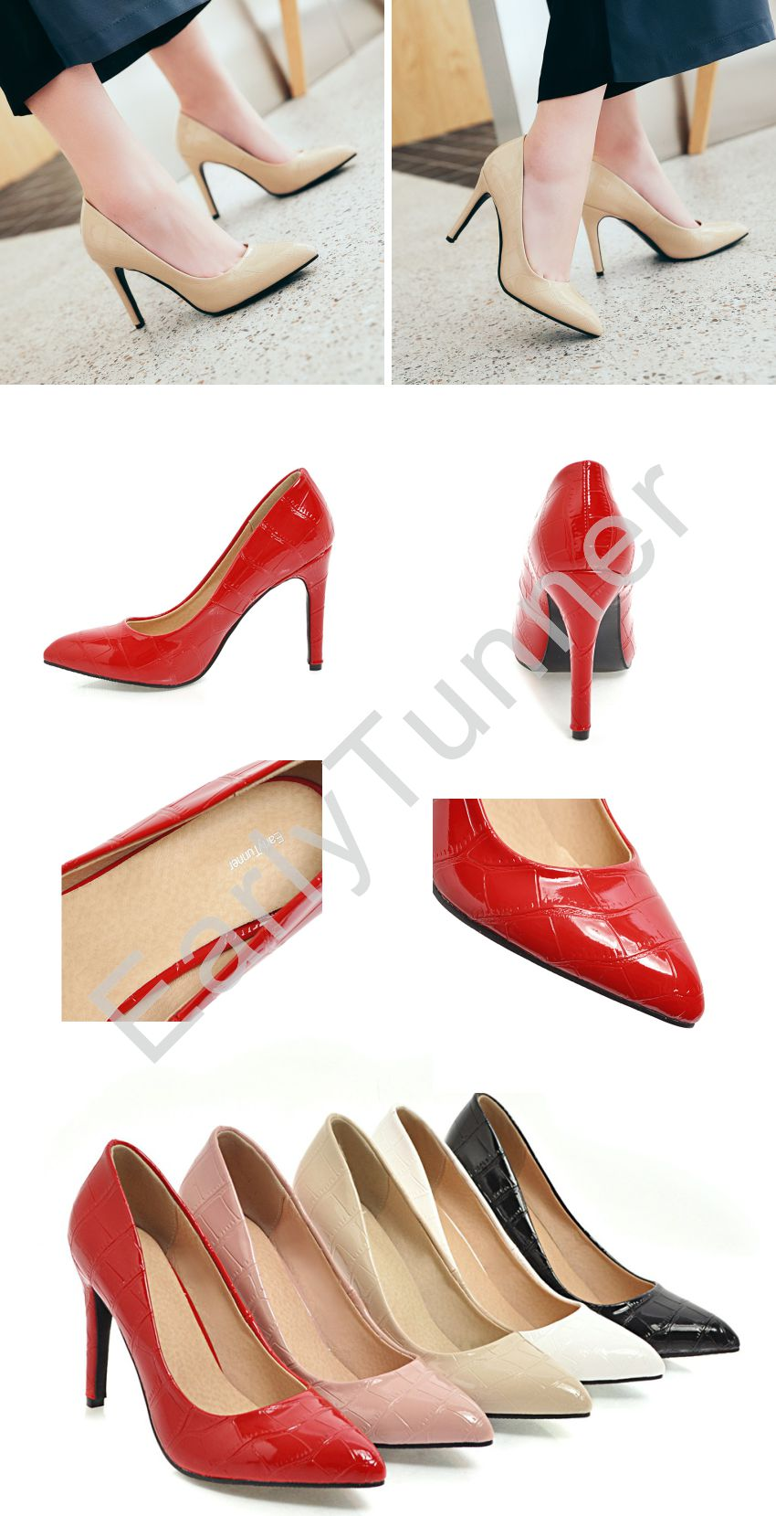 Brand New Hot Fashion Pink Red Women Formal Pumps Comfortable Stiletto High Heels Lady Casual Shoes EH1582 Plus Big Size 10 43