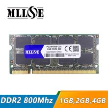 Mllse laptop, 1gb 2gb 4gb ddr2 800 pc2-6400 so-dimm, ddr2 800 2gb pc2 6400 sdram notebook, memória ram ddr2 2gb 800mhz dimm
