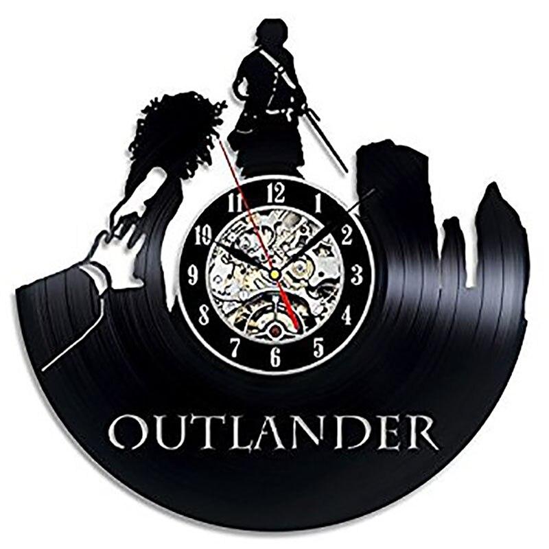 Creative Noir Creux 3D Record Horloge Murale Outlander Art Disque Vinyle LED avec 7 couleurs Horloge Personnalisé Main Pendaison Horloge
