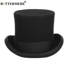 BUTTERMERE Mens Wool Top Hat Male Magician Fedoras Denton Flet Hats Black 13cm British Style Brand