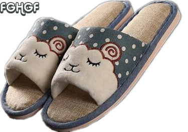 Flax Funny adult Slippers Women House Shoes Indoor Pantufas Cute Bedroom Slippers Home Lovers Chaussons zapatillas casa mujer soft house slippers women men home shoes cute bedroom foot warmer japanese indoor slippers fur pantufa zapatillas casa chaussons