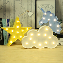 LED Cloud Star Unicorn Flamingo Moon Lamp 3D Night Light Marquee Letter Desk Light Table Lamps Decoration Luminaria Nightlight