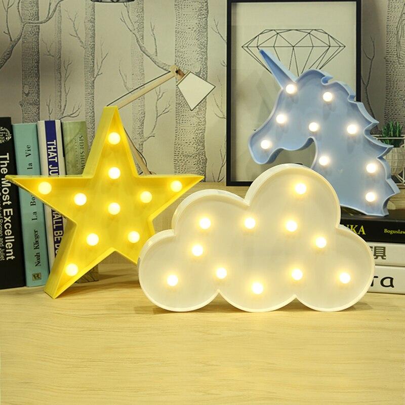 LED Nuage Étoiles Licorne Flamant Lune Lampe 3D Nuit Lumière Chapiteau Lettre Lampe De Bureau Lampes de Table Décoration Luminaria Veilleuse
