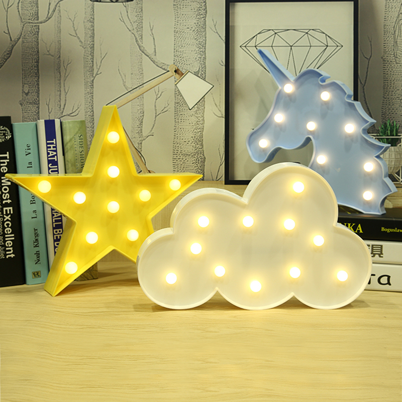 LED nube estrella unicornio Flamingo lámpara Luna 3D noche luz letrero luz Mesa lámparas decoración Luminaria Nightlight