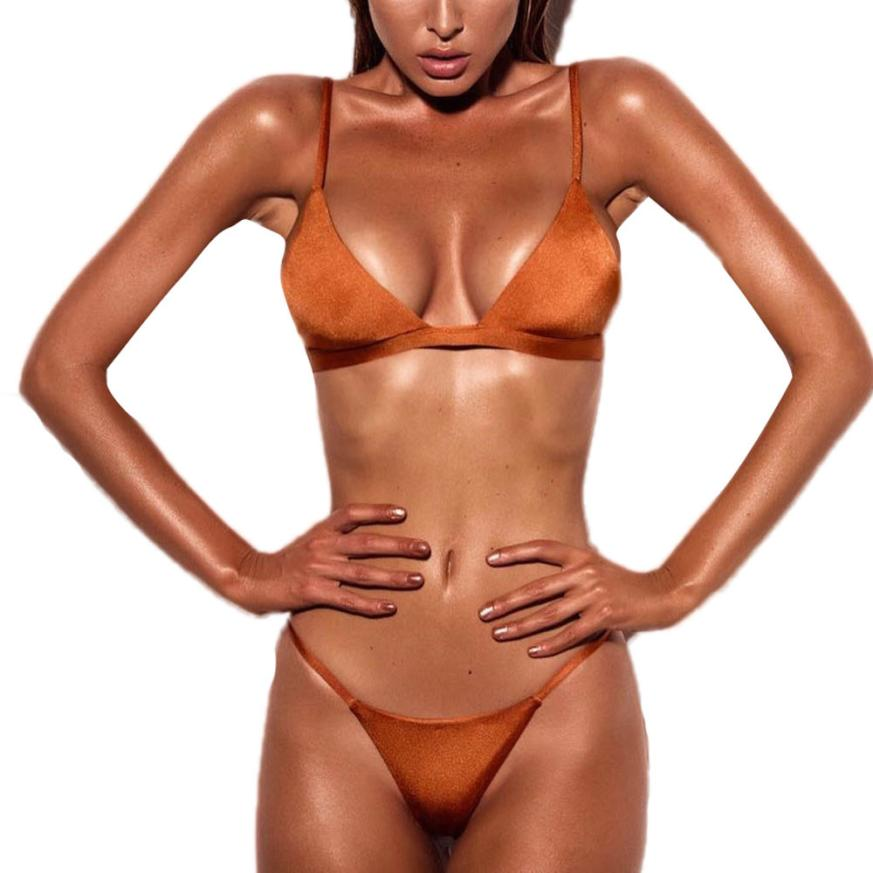 Women Swimwear Sexy 2018 Casual Fashion Push-Up Solid Padded Bra Beach Set Swimsuit Swimwears Jan24
