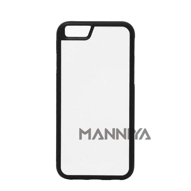 imágenes para MANNIYA En Blanco Sublimación 2D Caso de TPU + PC de goma para el iphone 6/6 s con Inserciones De Aluminio Envío Gratis! 100 unids/lote