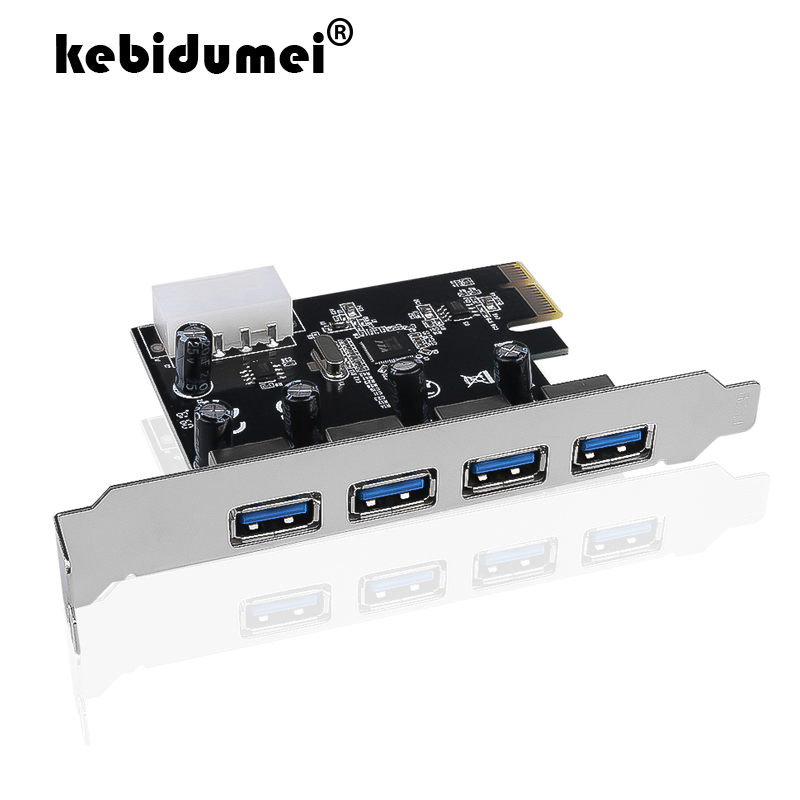 Diligent Kebidumei Professional 4 Port Pci-e To Usb 3.0 Hub Pci Express Expansion Card Adapter 5 Gbps Speed For Desktop Computer Handsome Appearance