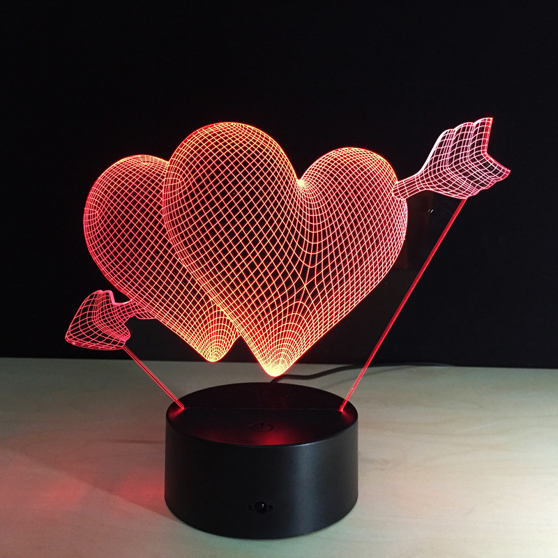 ФОТО 3D Stereo Night Light Acrylic LED Colorful Atmosphere Lights  USB Cartoon Light 3-5W Valentine 's Day Creative Gift Heart-shaped