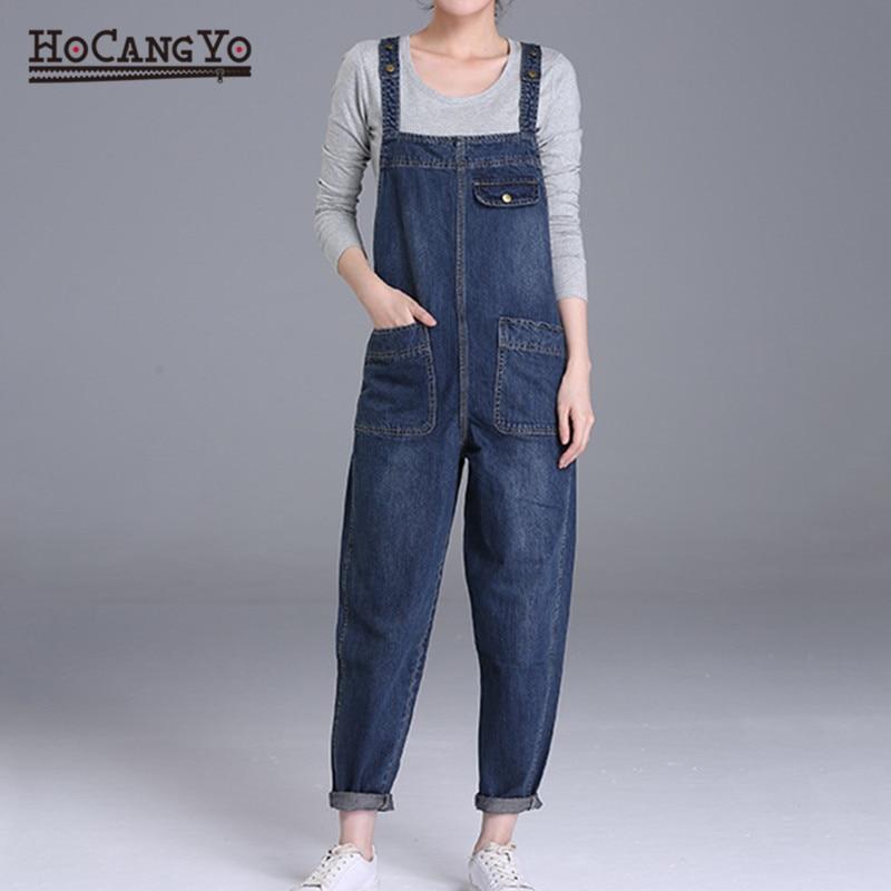 HCYO Plus Size 6XL Women Denim Jumpsuits Pants Loose Casual Wide Leg Denim Overalls Women 200 Pounds Fat MM Jumpsuit Rompers