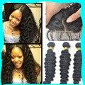 7A Virgin human hair silk base closure with bundles cheap deep wave 3 bundles peruvian virgin hair with silk closure hidden knot