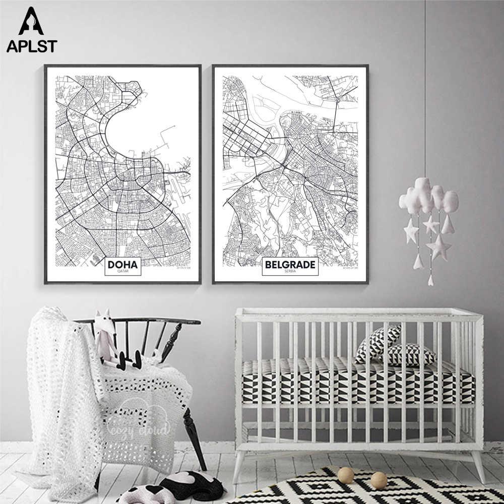大世界地図ニューヨーク · マドリードパリ 16 市マッププリント北欧ポスター画リビングルームの壁写真