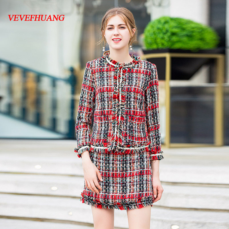 VEVEFHUANG 2018 Designer Autumn New Two Piece Set Women's Long Sleeve Tassel Coat Jacket+ Skirts England Style Plaid Skirt Suit