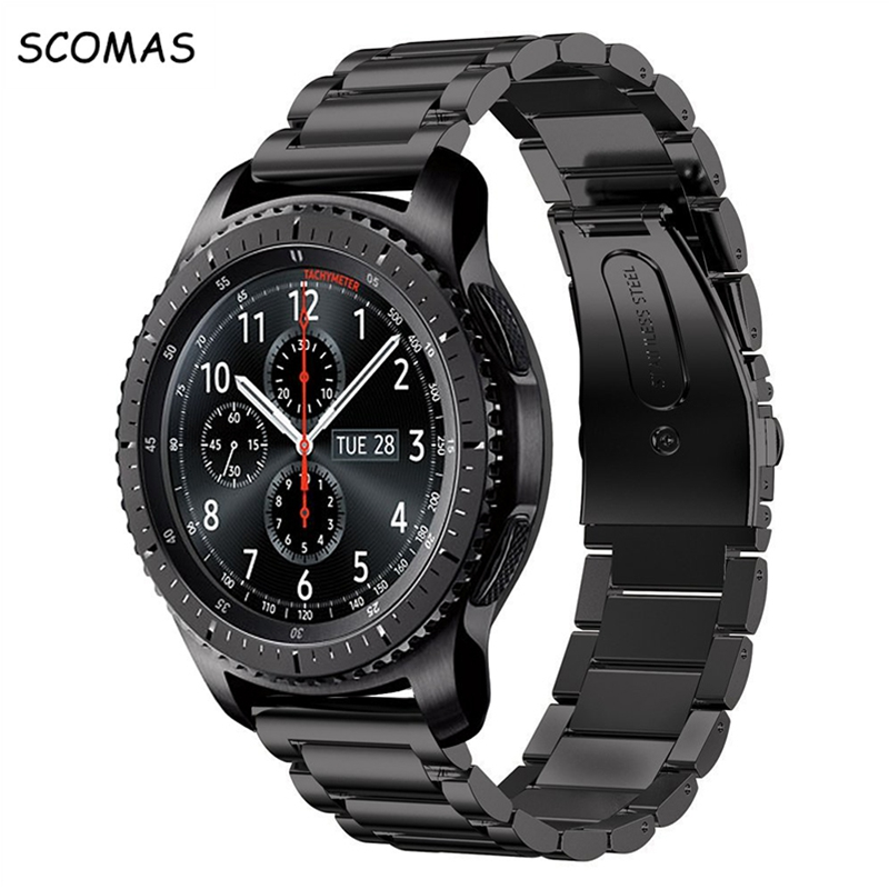 SCOMAS Stainless Steel Metal Replacement Strap Wrist Band for Samsung Gear S3 Frontier / Gear S3 Classic Smart Watch Watchband