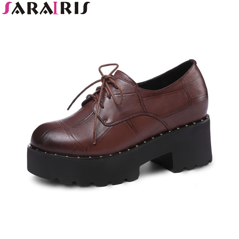 SARAIRIS 2018 Spring Autumn Genuine Leather Fashion Round Toe Flat Platform Shoes Woman lace-up Hight Increasing School Shoe top fashion shoes men mens canvas shoe chaussure homme leather business breathable spring autumn solid medium b m flat lace up