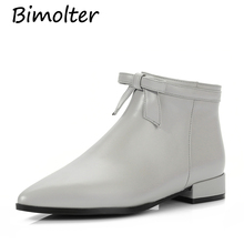 Bimolter 2019 New Women ankle boots cow leather zippers Grey color slip on spring bow-tied high heels women riding NB087