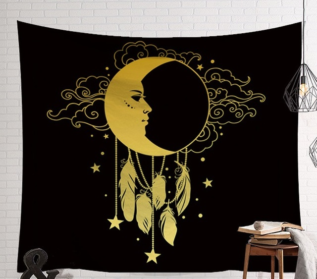 CAMMITEVER Mandala Hippie Moon Sun Dreamcatcher Tapestry Bohemian Beach Towel Polyester Thin Blanket Yoga Shawl Mat Dark Mystery