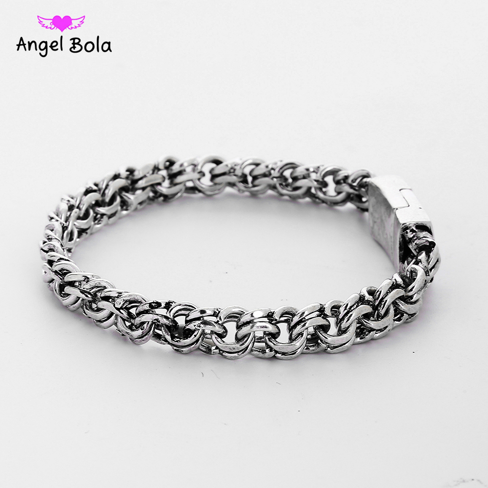 Man Biba Bangles Charms Bracelets Men Pulseira Jewelry Gifts Fashion Punk Buddha Bracelet Ancient Silver Color for Women B1207-4