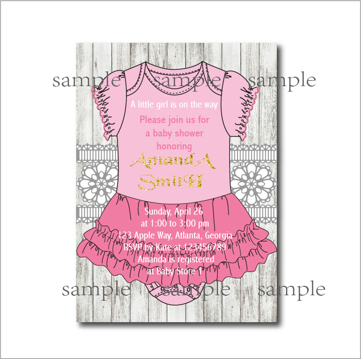 20pcs/lot Baby Girl Pink Dress Baby shower Invitations Princess ...