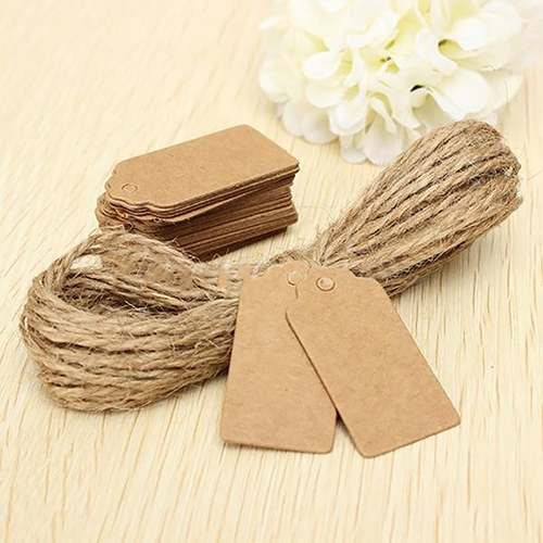 100pcs Kraft Paper Tags with Jute Twine DIY Gifts Crafts Price Luggage Name Tags Message Note Wedding Party Decoration Gift