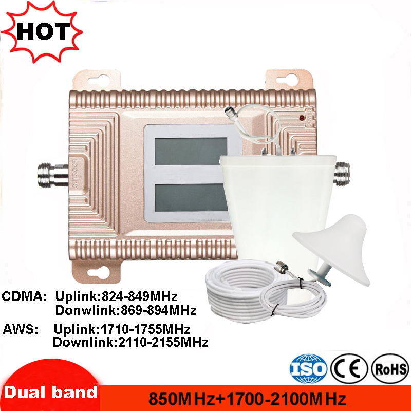 2G 3G 4G Cellular Signal Repeater GSM 3G AWS 4G <font><b>850mhz</b></font> 1700-2100MHz Dual Band Cellphone Amplifier Mobile Booster Mexico 2g 4g image