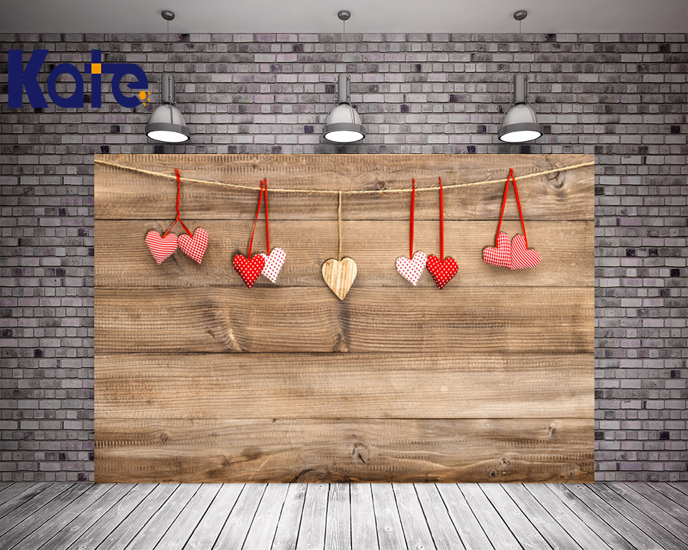 Kate Retro Wood Wall Photo Backdrop Red Love Valentine'S Day Photography Background For Girl Backdrops 8x10ft valentine s day photography pink love heart shape adult portrait backdrop d 7324
