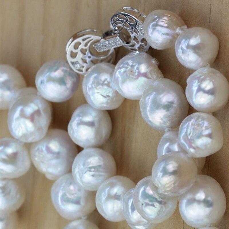 Mariage éternel femmes cadeau mot 925 argent Sterling réel enveloppé poney, collier de perles naturelles, Baroque, 10-11mm, lumineux Edison,